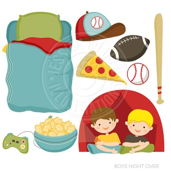 Boy Night Over Cute Digital Clipart, Sleepover Graphics
