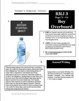 Boy Overboard by Morris Gleitzman - Reader's Response Journals
