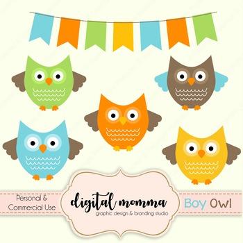 Boy Owl, Bunting Clipart Set