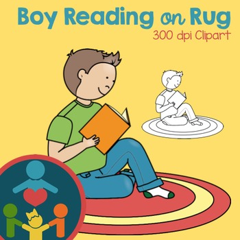 Boy Reading on Rug Clipart