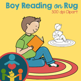 Boy Reading on Rug Clipart