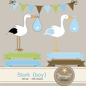 Boy Stork digital paper and clipart