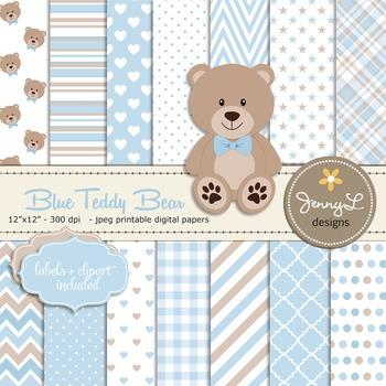 SET: Boy Teddy Bear Digital papers, Blue, Boy Bear clipart,