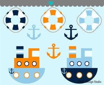 Boy Tugboat Adventure Clip Art