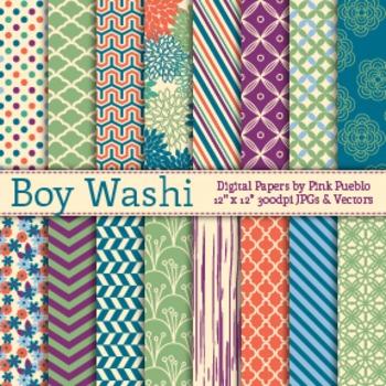 Boy Washi Patterns Digital Scrapbook Paper, Boy Scrapbooking Paper