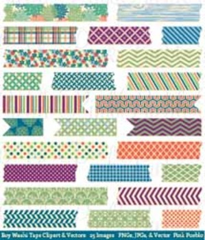 Boy Washi Tape Clip Art Clipart, Japanese Washi Tape - Commercial and Personal