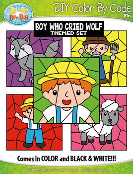 Boy Who Cried Wolf Color By Code Clipart {Zip-A-Dee-Doo-Dah Designs}