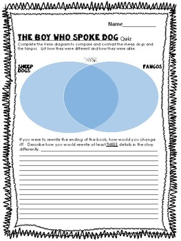 Boy Who Spoke Dog Book Quiz