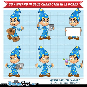 Boy Wizard Character In Blue - 12 Different Poses