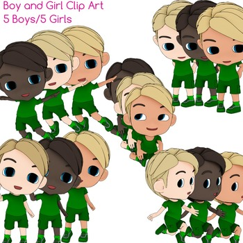 Boy and Girl Clip Art - 5 Boys, 5 Girls in General Poses x 3 skin tones
