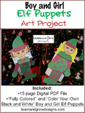 Boy and Girl Elf Puppet Art Project Color Your Own and Fully Colored