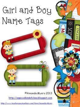 Boy and Girl Name Tags