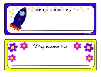 Rocket Ship and Flower Nameplates