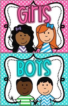 boy and girl restroom signs bright polka dot - Girl Bathroom Sign