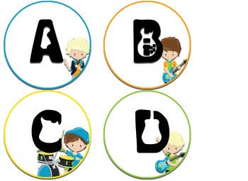 Boy and Girl Rock Star themed Word Wall headers - labels
