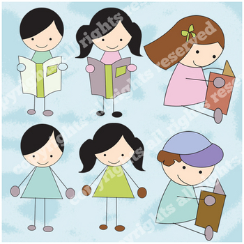 Boy and Girl cute Learning Doodles graphics