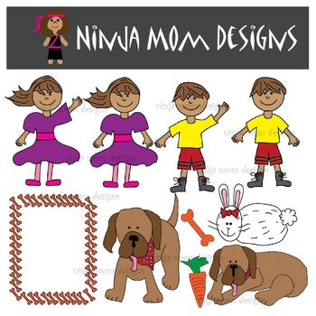Boy and His Dog Childrens Book Clip Art in Color and Black Line
