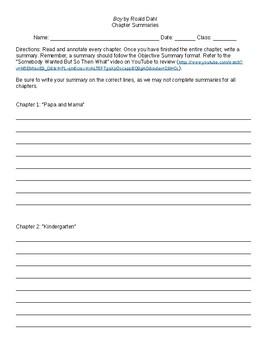 Boy by Roald Dahl Chapter Summary Worksheet