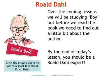 Boy by Roald Dahl PowerPoint, worksheets and unit plan