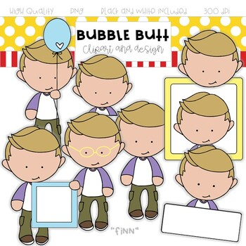 Boy clip art Finn by Bubble Butt clip art and design