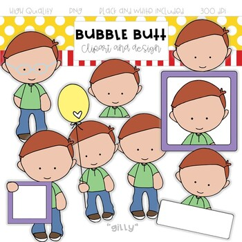 """Boy clip art """"Gilly"""" by Bubble Butt clip art and design"""