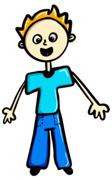 Fun boy clip art high resolution colour and black and white PNG files FREEBIE