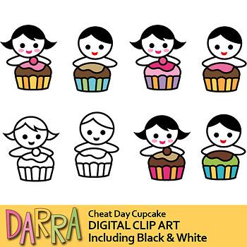 Boy girl cupcake clip art