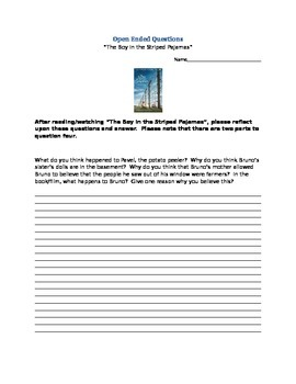 Boy in the Striped Pajamas- Open Ended Writing