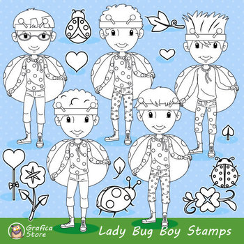 Boy ladybug Stamp, Insect Clip art, Coloring Pages
