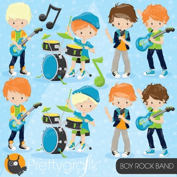 Boy rock band clipart commercial use, vector graphics, digital - CL812