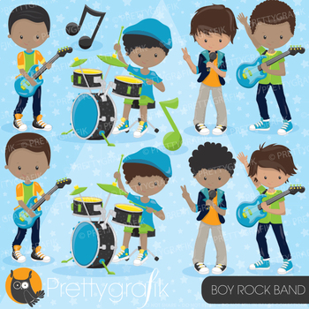 Boy rock band clipart commercial use, vector graphics, digital - CL813