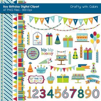 Boy's Birthday Clip Art Set in Bright Color