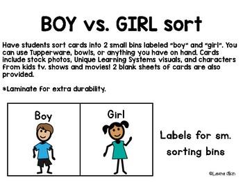 Boy vs. Girl Sort Task Box