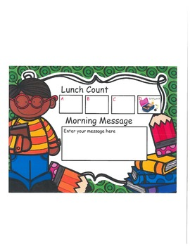Boy with Supplies Lunch Count and Morning Message
