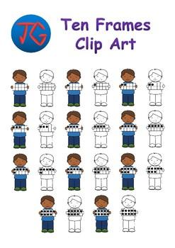 Boy with Ten Frames Clipart