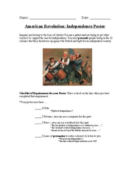 Boycott and/or Independence Poster Project for American Revoltuion