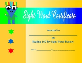 Boys 100 Fry Sight Word Certificate