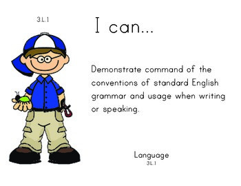 Boys 3rd grade English Common core standards posters
