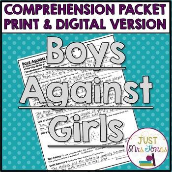 Boys Against Girls Comprehension Packet