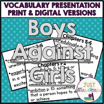 Boys Against Girls Vocabulary Presentation