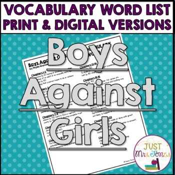 Boys Against Girls Vocabulary Word List