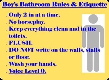Boy's Bathroom Etiquette Sign