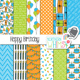 Boys Birthday Digital Paper - blue, green, & orange