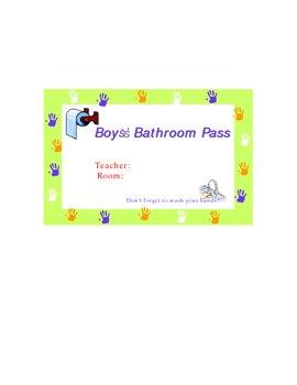 Boys & Girls Bathroom Pass