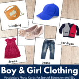 Boys and Girls Clothing Cards