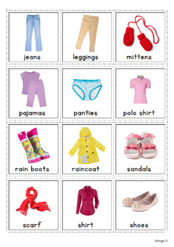 Clothing Unit, Boys and Girls Clothes Flashcards by Angie ...