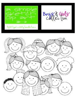 Boys & Girls Collection [A Simple Sketch Digital Clip Art]