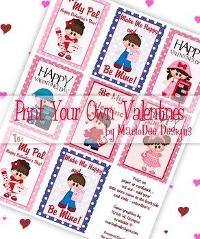 Boys & Girls Printable Childrens Valentine Cards d1