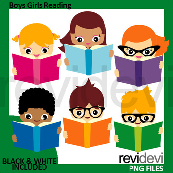 Boys Girls Reading A Book Clipart By Revidevi Teachers Pay Teachers
