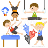 Boys Gymnastics Cute Digital Clipart, Gymnastics Clip Art